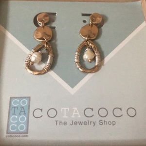 Gold and silver pearl drop earrings